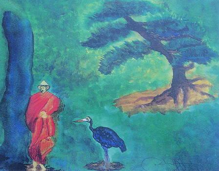 Monk with Bonzai Tree by Debbie Nester