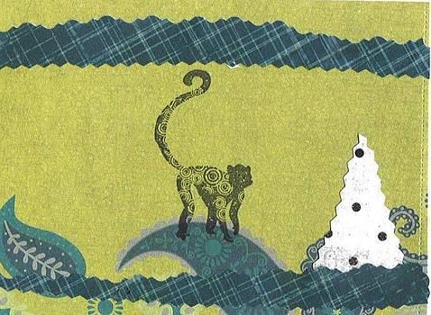 Monkey and White Christmas Tree by Glenda Kotchish