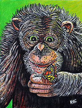 Monkey with Butterfly by Bob Crawford