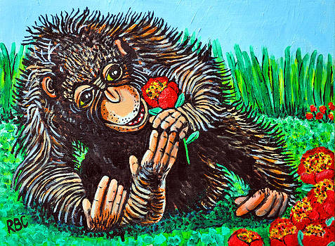 Monkey with Flower by Bob Crawford