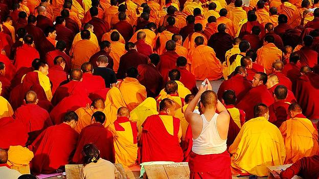 Monks in Bodhgaya by Greg Holden