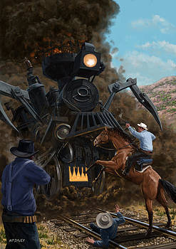 Martin Davey - Monster Train attacking Cowboys