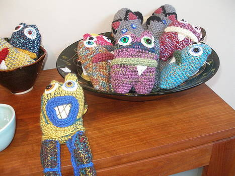 MONSTERS AND Kitten Mittens by Knot by Gran ma