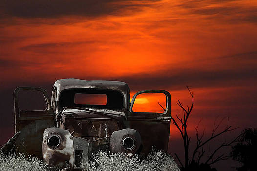Montage of an old car and sunset by Grobler Du Preez