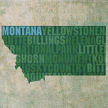 Design Turnpike - Montana Word Art State Map on Canvas