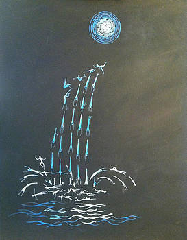 Moon and Waterfall #1 by Kelly Mier