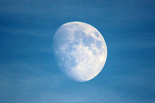 Moon on Blue Sky by Gerald Murray Photography