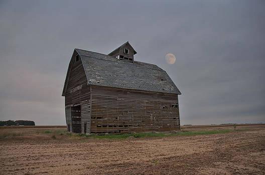 Moon Over Abandoned Iowa Corn Crib by Wendy Ashland