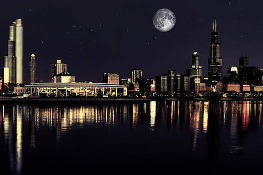 Moon Over Chicago by Dancin Artworks