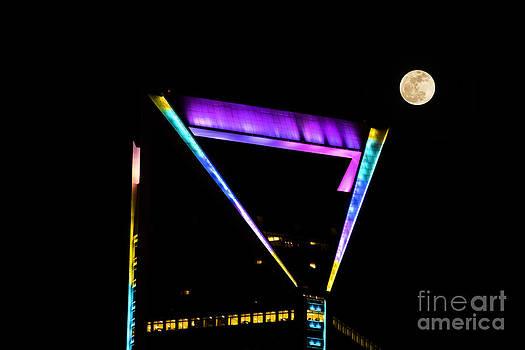 Moon over Duke Energy Tower Charlotte NC by Patrick Schneider