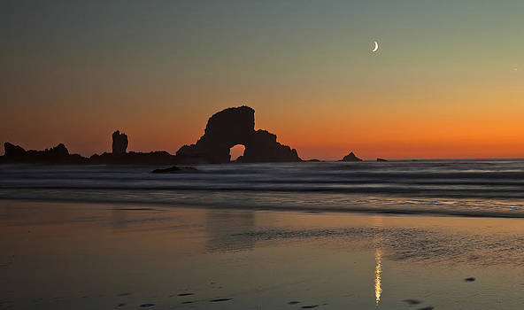 Moon over Ecola Beach by Ross Murphy