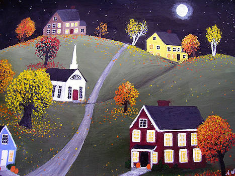Moon Over Harvest Village by Amy Scholten