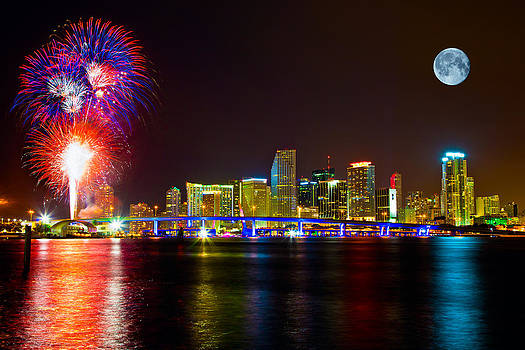 Moon and Fireworks Over Miami by Derek Latta