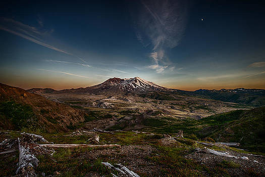 Moon over Mt St Helens by Mark Rainer
