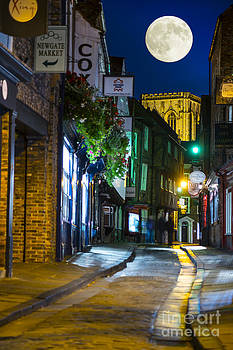 Moon over Old City of the York by Lilianna Sokolowska