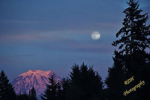 Moon Over Rainier by Ronald Hanson