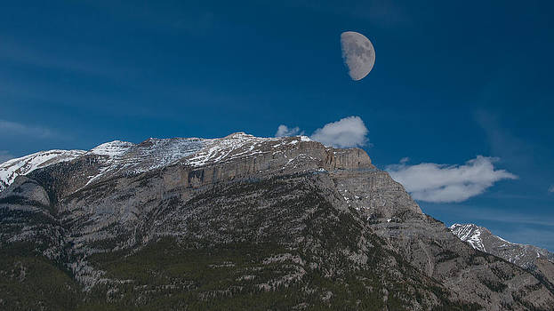 Moon Over the Canadian Rockies by Guy Whiteley