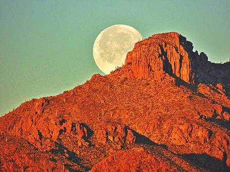 Moon Over Tucson Mountains by John Wanserski