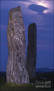 Moon Over Two Callanish Stones by George Hodlin