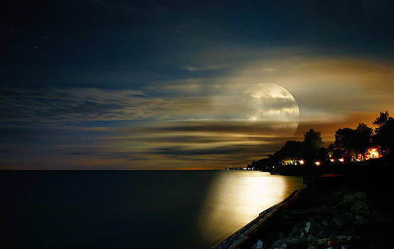 Moon Rise Lake Huron by David Thurau