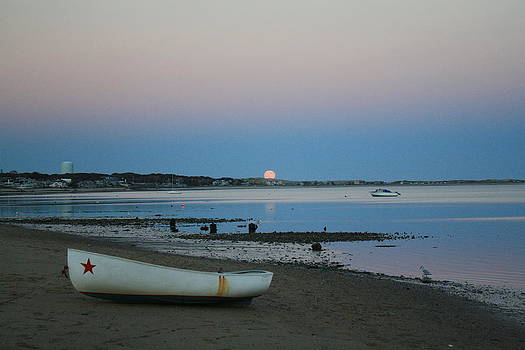 Moon Rise with boat by Terry Decker