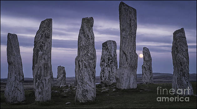 Moon Rising Behind Callanish Stone Circle by George Hodlin