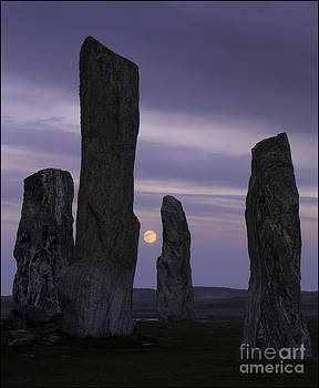 Moon Rising Behind Callanish Stone Circle No2 by George Hodlin