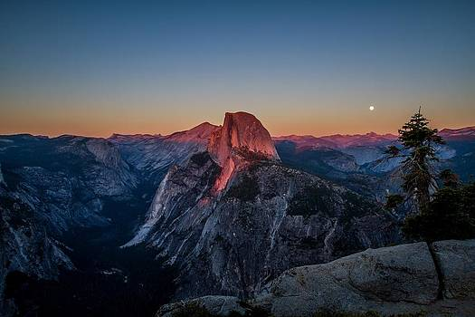 Moon Rising over Glacier Point by Arlene Carley