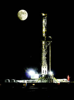 Moon Rising Over the Oilfield by Margaret  Slaugh