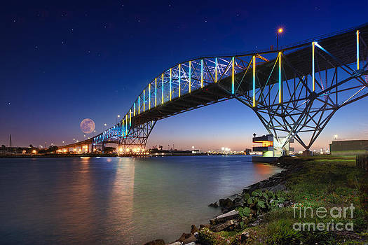 Moon Setting Over Corpus Christi Bridge by Richard Mason