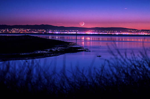 Moon Setting Over the Bay by Brandon McClintock