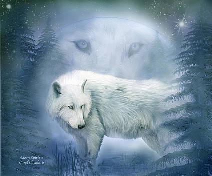 Moon Spirit 2 - White Wolf - Blue by Carol Cavalaris