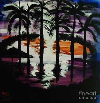 Moon Thru the Palms by Marie Bulger