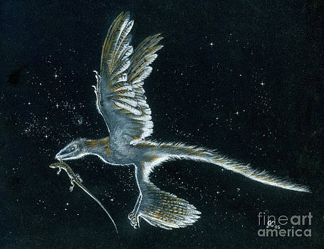 Moonlight hunt - Microraptor by Julius Csotonyi