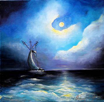 Moonlight reflections by Helene Khoury Nassif