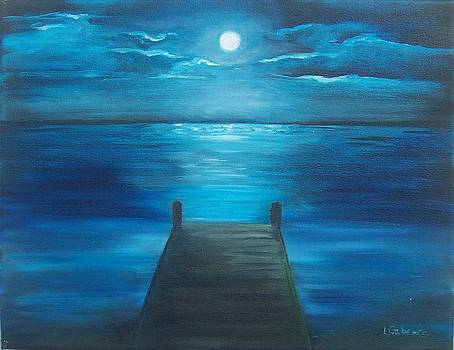 Moonlit Dock by Linda Cabrera