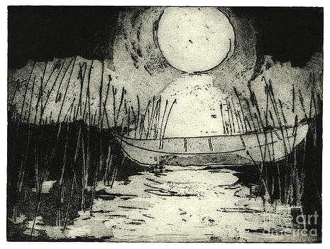Moonlit Night - Full Moon - Reeds - Among The Reeds - Canoe - Etching - Fine Art Print - Stock Image by Urft Valley Art