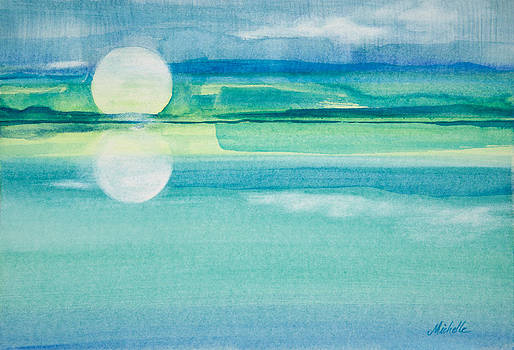 Michelle Constantine - Moonrise in Blue Watercolor Painting