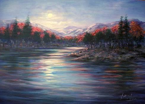 Moonrise on the lake#2 by Laila Awad Jamaleldin