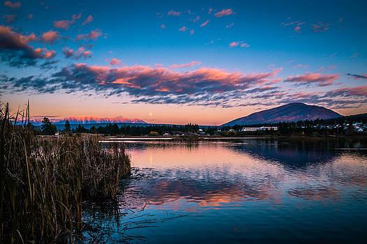 Moonrise over Elizabeth Lake by Rob Tullis