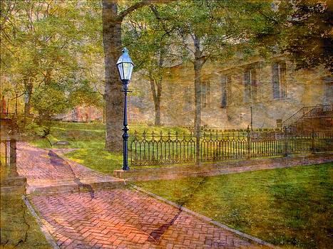 Moravian church courtyard by Dave Hrusecky