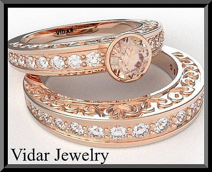 Morganite And Diamond 14k Heart Wedding Ring And Engagement Ring Set by Roi Avidar