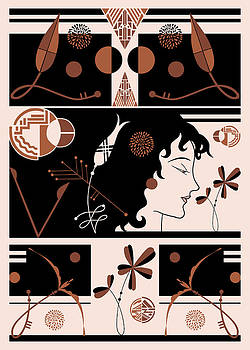 Nancy Lorene - MORIOKA MONTAGE in Apricot and Black