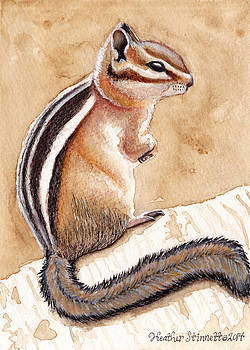 Morning Coffee Chipmunk by Heather Stinnett