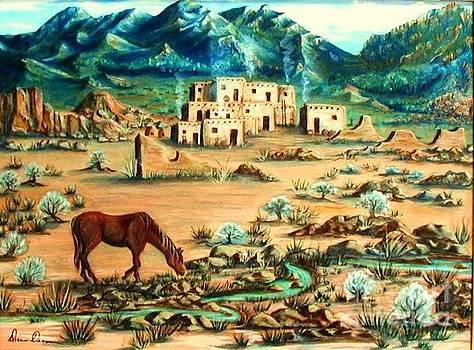 Morning Drink at Taos Pueblo by Diana Dearen