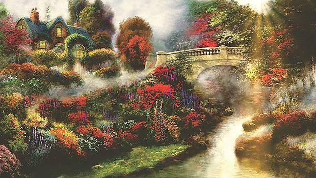 Morning Fog Thomas Kinkade Look-a-like by Jessie J De La Portillo