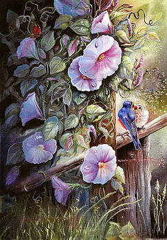Patricia Schneider Mitchell - Morning Glories and Bluebirds.