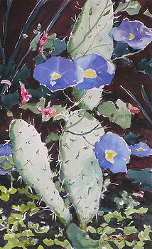 Morning Glories and Nopal by Donna Dickson
