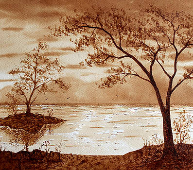 Morning Mountain Lake original coffee painting by Georgeta Blanaru