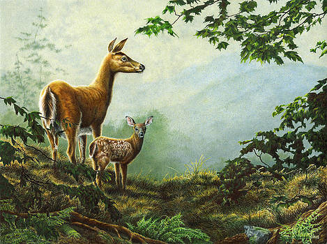 Morning On The Ridge Whitetail Doe and Fawn by Richard Devine